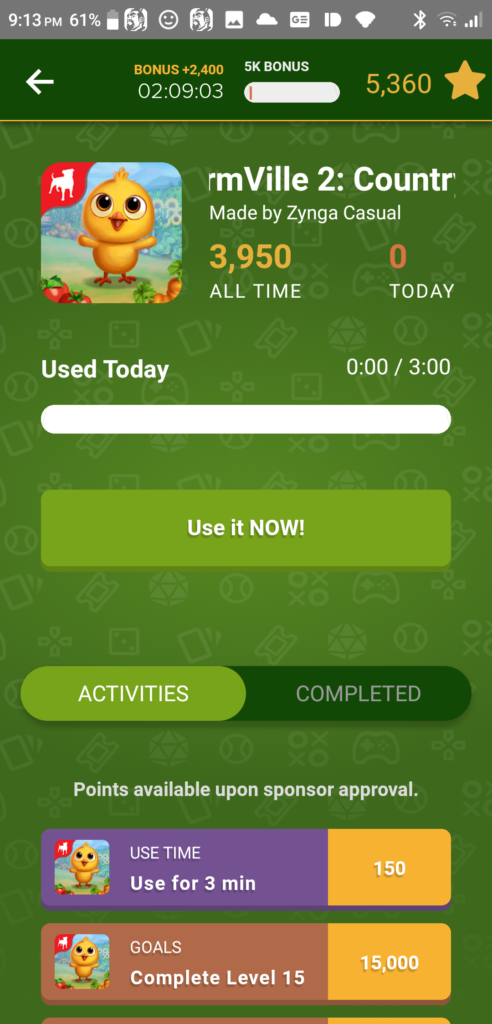 Rewarded Play Game Details